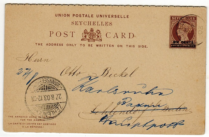 SEYCHELLES - 1902 6c+6c on 8c+8c dark brown PSRC to Germany.  H&G 8.