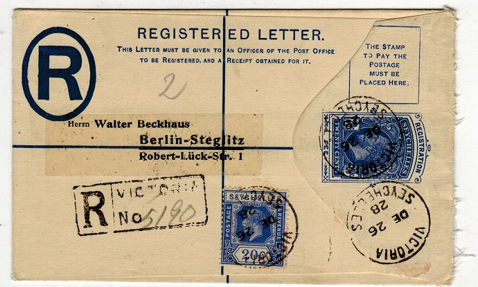 SEYCHELLES - 1916 20c blue RPSE to Germany used at VICTORIA.  H&G 3.