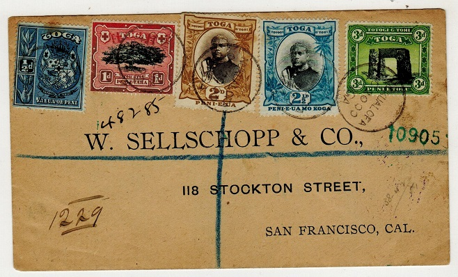 TONGA - 1900 multi franked registered cover to USA used at NUKUALOFA.