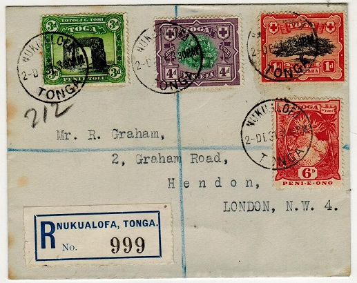 TONGA - 1931 multi franked registered cover to UK used at NUKUALOFA.