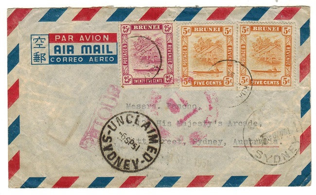 AUSTRALIA - 1951 inward cover from Brunei with UNCLAIMED/SYDNEY h/s applied.