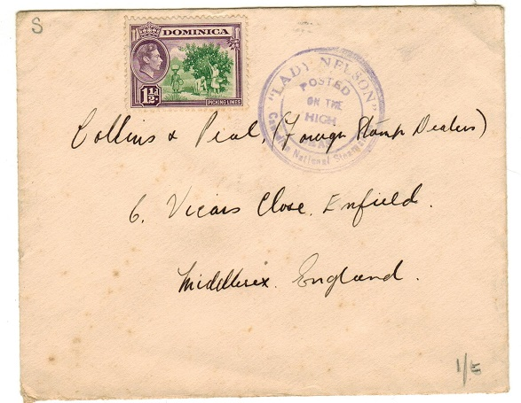 DOMINICA - 1948 (circa) LADY NELSON maritime cover to UK.