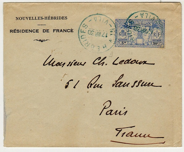 NEW HEBRIDES - 1930 5d rate cover to France used at VILA with strike in