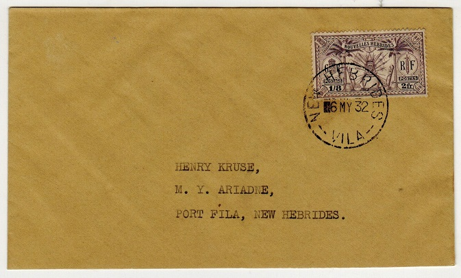 NEW HEBRIDES - 1932 1/8d adhesive on local cover used at VILA.