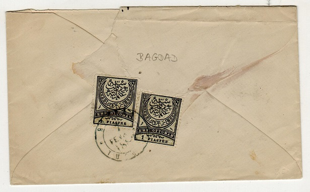 IRAQ (Turkey used in) - 1883 2p rate fore runner cover addressed in local script.