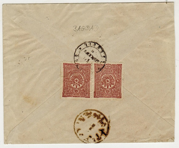 IRAQ (Turkey used in) - 1892 40p rate cover used at BAGDAD.