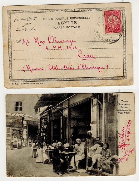 IRAQ (Turkey used in) - 1908 20p rate use of postcard to USA (scarce) used at MOUSSOUL.