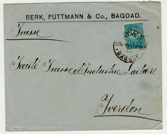 IRAQ (Turkey used in ) - 1914 1p rate cover to Switzerland used at BAGDAD.
