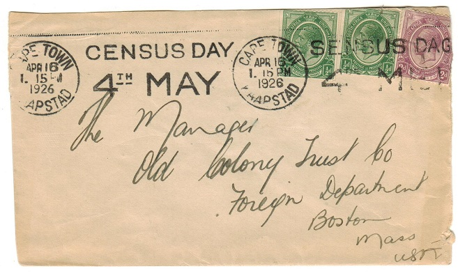 SOUTH AFRICA - 1926 3d rate cover to USA with CENSUS DAY slogan strike from CAPE TOWN.