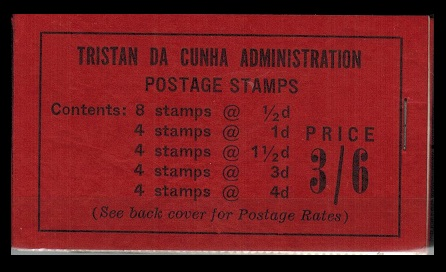 TRISTAN DA CUNHA - 1958 3s6d black on red complete booklet stapled at right.  SG SB2.