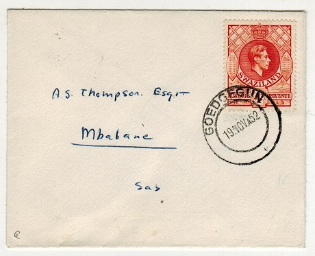 SWAZILAND - 1952 4d rate local cover used at GOEDGEGUN.