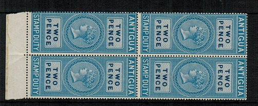 ANTIGUA - 1870 2d blue STAMP DUTY issue in a unmounted mint block of four.