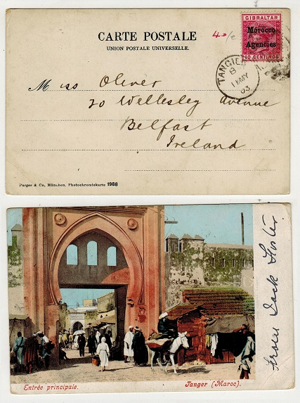 MOROCCO AGENCIES - 1903 10c rate postcard use to Ireland used at TANGIER.