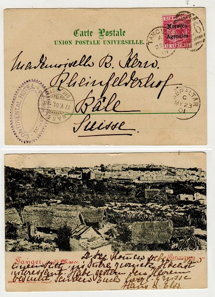 MOROCCO AGENCIES - 1903 10c rate postcard to Switzerland used at TANGIER with CONTINENTAL HOTEL cach