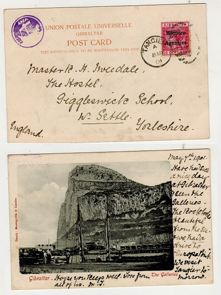 MOROCCO AGENCIES - 1901 10c rate postcard use to UK used at TANGIER with