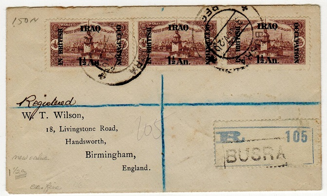 IRAQ - 1920 4 1/2a rate registered cover to UK used at BUSRA.