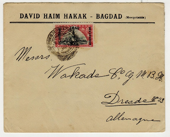 IRAQ - 1923 3a rate commercial cover to Germany used at BAGHDAD.