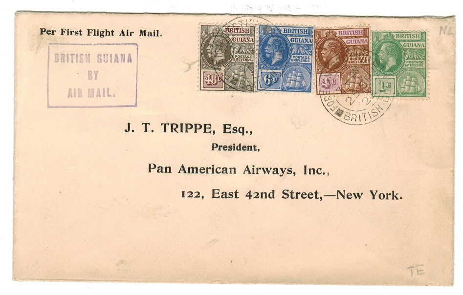 BRITISH GUIANA - 1929 First flight cover to USA.