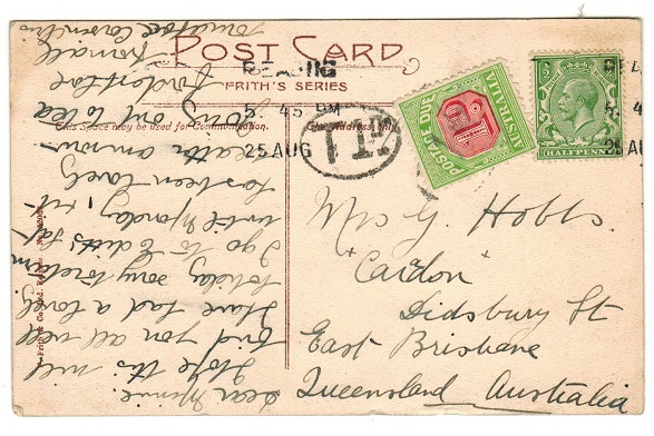 AUSTRALIA - 1930 (circa) inward underpaid postcard from UK with 1d