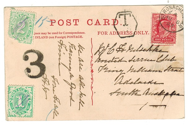 AUSTRALIA - 1903 inward underpaid postcard from UK with