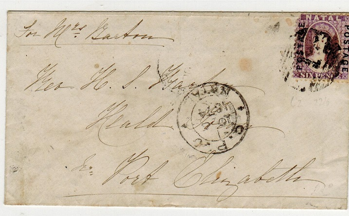 NATAL - 1874 6d rate cover to Port Elizabeth cancelled by