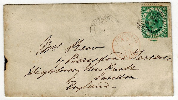 NATAL - 1873 1/- rate cover addressed to UK used at DURBAN.