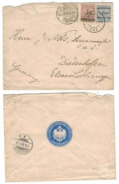 TRANSVAAL - 1898 2 1/2d rate (surcharge) cover addressed to Germany used at JOHANNESBURG.
