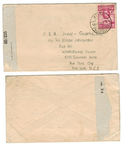 GOLD COAST - 1944 4d rate censor cover to USA used at ACCRA.