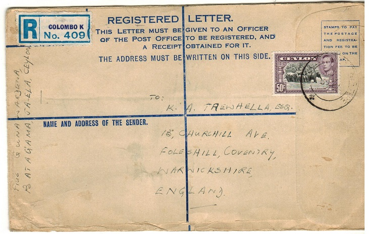 CEYLON - 1950 use of FORMULA registered postal stationery envelope to UK at COLOMBO.