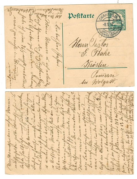 SOUTH WEST AFRICA (German) - 1912 5pfg green PSC to Germany used at OKAHANDJA.  H&G 19.