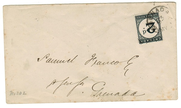 GRENADA - 1893 local unstamped cover with 2d