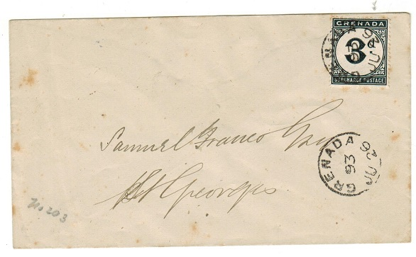 GRENADA - 1893 local unstamped cover with 3d