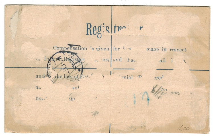 BRITISH LEVANT - 1907 1p on 2d+1d RPSE to Germany uprated with 30p and 1/2d. H&G 16.