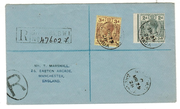 GRENADA - 1928 5d rate registered cover to UK used at GRAND ROY.