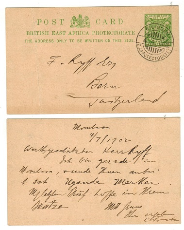 BRITISH EAST AFRICA - 1902 use of 1/2d green PSC to Switzerland (creased) used at KILINDINI.  H&G 7.