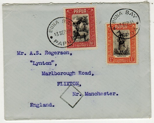 PAPUA - 1935 2d rate cover to UK used at BUNA BAY.