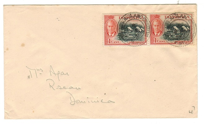 DOMINICA - 1952 2c rate local cover used at DUBLANC.