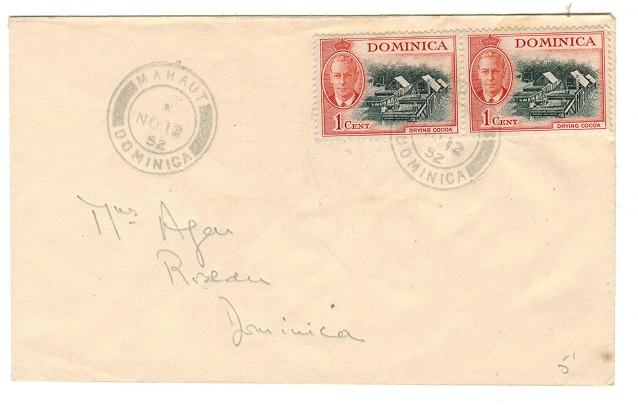 DOMINICA - 1952 2c rate local cover used at MAHAUT.