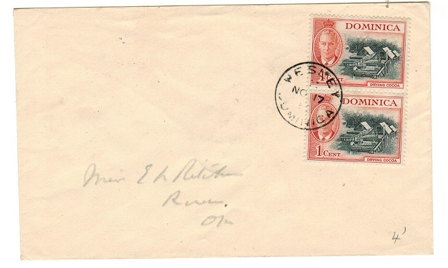 DOMINICA - 1952 2c rate local cover used at WESLEY.