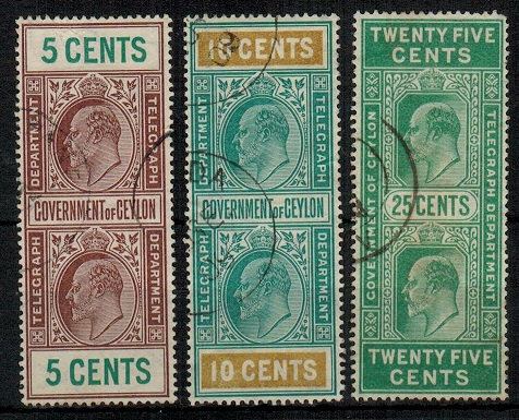 CEYLON - 1905 5c,10c and 25c TELEGRAPH stamps used.