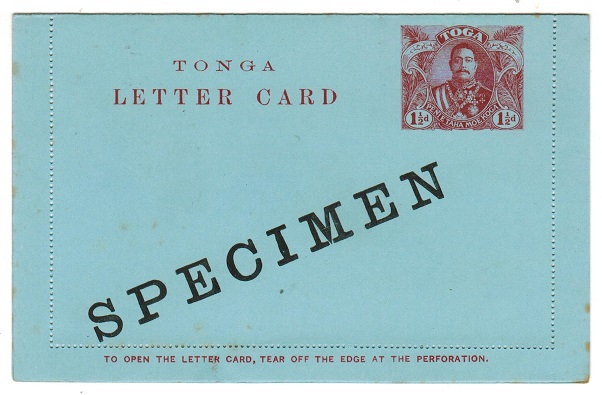 TONGA - 1910 1 1/2d claret postal stationery letter card unused SPECIMEN.  H&G 1.