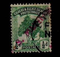 GILBERT AND ELLICE IS - 1911 1/2d (SG 8) struck by part red S.S.MUNIARA maritime handstamp.
