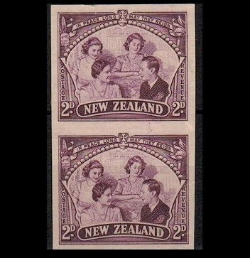 NEW ZEALAND - 1946 2d IMPERFORATE PLATE PROOF pair printed in purple.
