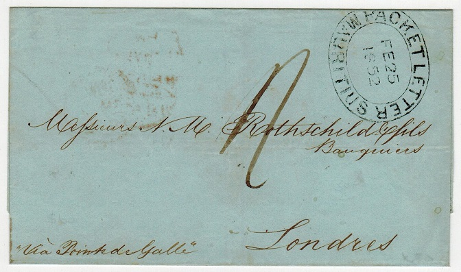 MAURITIUS - 1852 stampless outer wrapper to UK cancelled PACKET LETTER/MAURITIUS.