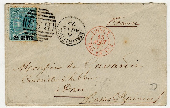 MAURITIUS - 1878 25c on 6d surcharge cover to France cancelled by