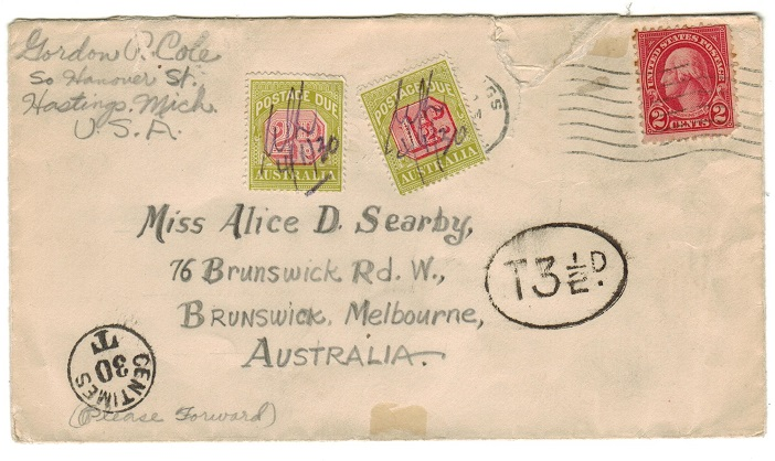 AUSTRALIA - 1930 inward underpaid cover with