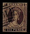 BAHAMAS - 1861 6d IMPERFORATE FORGERY.