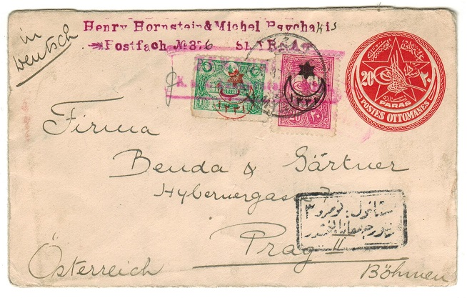 BRITISH LEVANT (Turkish Offices) - 1917 use of 20p red PSE uprated to Austria from SMYRNA.