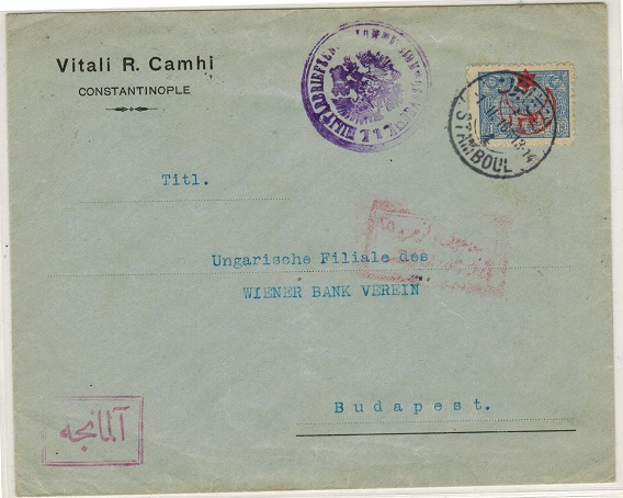 BRITISH LEVANT (Turkish Offices) - 1916 1p rate use on cover to Hungary used at STAMBOUL.