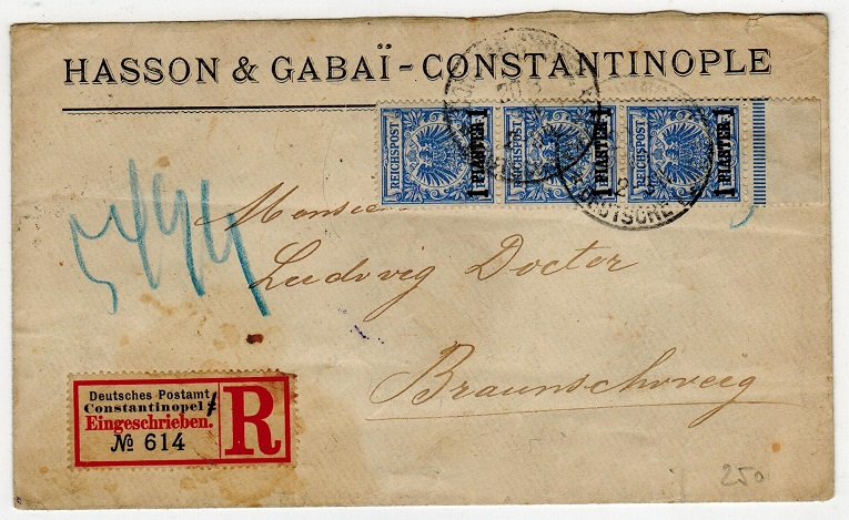 BRITISH LEVANT (German Offices) - 1899 3p rate registered cover used at CONSTANTINOPLE.